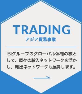 TRADING アジア貿易事業 IBIグループのグローバル体制の核として、既存の輸入ネットワークを活かし、輸出ネットワークも展開します。